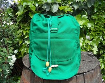 Grass-green canvas backpack