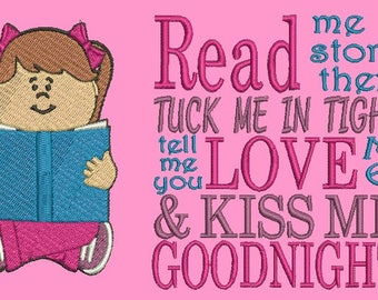 Girl Read Me a Story Bedtime Pillow Embroidery Design