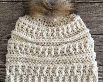READY TO SHIP- Women's Crochet Pom Pom Beanie