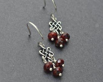 Garnet Earrings, Czech glass earrings, Sterling Silver Dangle Earrings, Celtic Knot Link, Celtic Earrings
