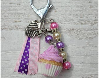 Jewelry greedy Cupcake polymer clay beads and Ribbon