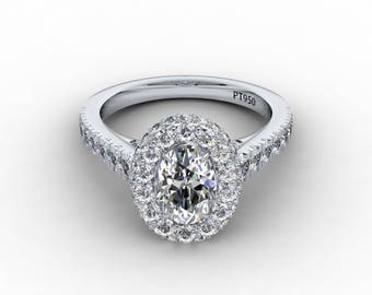 Oval Moissanite Engagement Ring 1.50ct Forever One Ring 1.20ct Natural Diamonds Unique Halo Wedding Ring White Gold Pristine Custom Rings