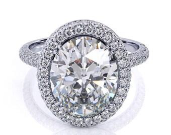 Oval Forever One Moissanite Engagement Ring 3.0ct Oval Moissanite .65ct Natural Diamonds Martini Halo Ring 14k Gold Pristine Custom Rings