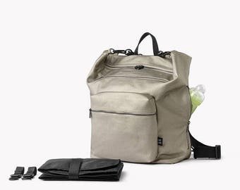 SALE 20.00 USD OFF Diaper bag backpack, Changing bag, Baby backpack diaper bag, Baby nappy bag, Unique diaper bags, Unisex diaper bag, Silve