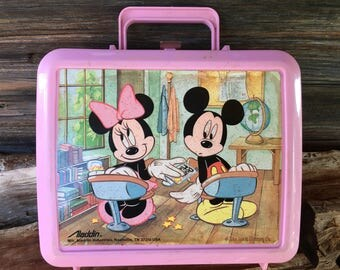 Vintage, Walt Disney, Mickey & Minnie, Mouse Lunch Box, Aladdin Industries, 1970s, Toys and Games,
