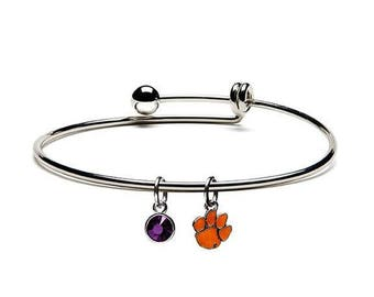 Clemson Tiger Paw Charm Dangle Bracelet - Clemson University Jewelry