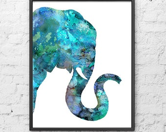 Elephant art print blue elephant print, elephant poster, blue nursery animal art, safari nursery art, jungle nursery print - H291