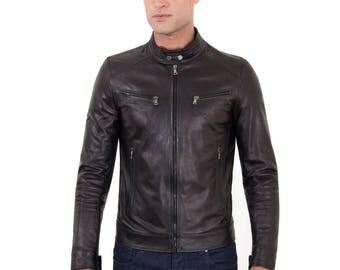 Genuine leather biker jacket, mao collar, soft leather, black color