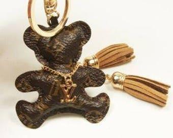 LV Inspired Teddy Bear Keyring