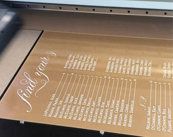 Printed acrylic seating chart  - clear acrylic  seating  chart