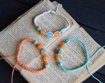 Dragon Vein Agate. Custom Colour. Hemp Bracelet. Anklet. Hippie Bracelet. Turquoise Stones. Boho Jewelry. Natural Jewelry. Eco-Friendly.
