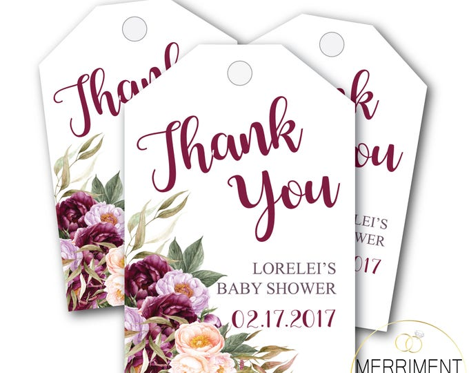 Burgundy Floral Favor Tags // Watercolor // Thank you tags // Pink // Gold // Marsala // Printed or Printable DIY // FLORENCE COLLECTION