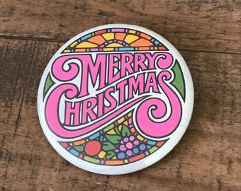 Merry Christmas Pinback Button, Stained Glass, Christmas Button, Vintage Flair, Backpack Flair