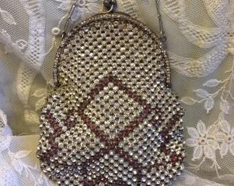 Gorgeous antique 1920s twinkly diamanté purse with amethyst purple geometric decoration ~ so sparkly