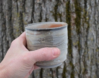 Little Hand Thrown Cup, Shino Yunomi, Small Pottery Cup, Carbon Trapping, Orange Ceramic Teacup, Whisky or Wine Cup, Unique Gift for Men