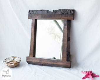Reclaimed wall mirror- Rustic decor- Vintage furniture- Weathered wood- Rustic mirrors- Reclaimed wood- Home decor- Housewarming- Brown