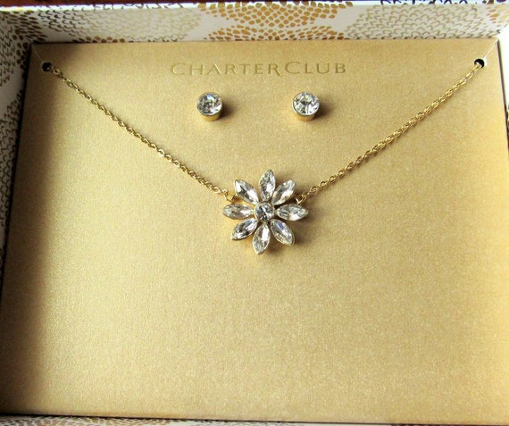 Rhinestone Necklace And Earrings Boxed Jewelry Set