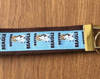 Beagle Key Chain Wristlet Zipper Pull