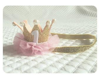 Girls crown age 1, headband. Ready to send. Party, birthday , photography prop