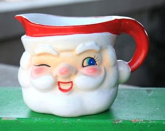 Vintage Holt Howard Ceramic Santa Creamer Mug Pitcher Japan 1950s  Figurines Decorations Collectibles