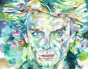 STING - THE POLICE - original watercolor portrait - one of a kind!