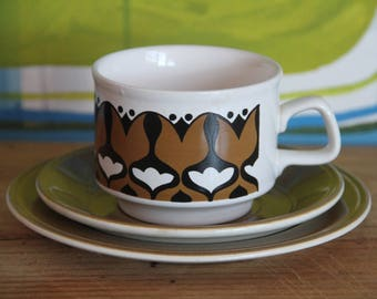 Vintage 1960's Staffordshire Ironstone Tea/Coffee  Trio