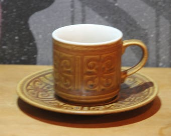 Retro Vintage 1970's  Brown and Sandstone Abstract Pattern Ironstone  Tea Cup and saucer