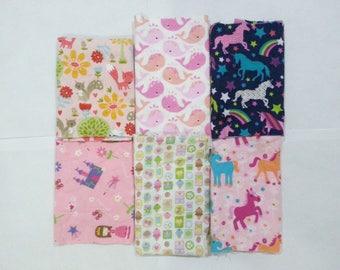Girls Cotton Flannel Fabric Scraps/ Girls Cotton Flannel Fabric Remnants (#05)