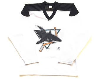90s San Jose Sharks ccm ravens throwback nhl hockey jersey size Large L perforated jersey