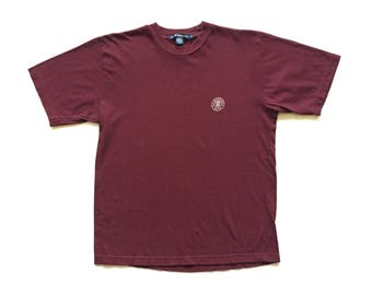 Vintage Club Monaco Circle logo spell out Short Sleeve T Shirt size mens small adult S shirt spell out red burgundy  100% Cotton