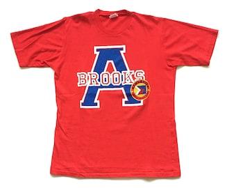 Vintage 1980s brooks athletics short sleeve t shirt single stitch 50 50 blend Large 80s red Brooks tee shirt