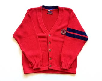 Tommy Hilfiger Vintage 1980's 80s Fraternity College Knit Cardigan Sweater mens size Medium 100% cotton Red , Navy Blue Tommy Hilfiger crest