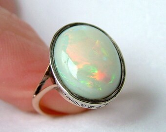 Victorian Natural Opal Rose Gold Ring * Large Opal Gold Ring * Antique Opal Gold Ring * Rose Gold Opal Ring * Victorian Rose Gold Opal Ring
