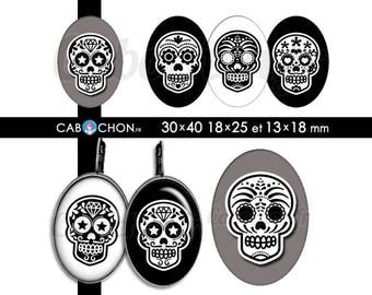 Mexican Skull V • 45 Images Digitales OVALES 30x40 18x25 13x18 mm digital sheet sugar skulls mexicana crane tete de mort muerte printable
