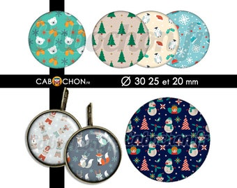Textures de Noël • 45 Images Digitales RONDES 30 25 20 mm sapin noël ours renard flocon sapin cloche noël motif texture