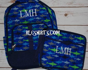 Jaw-Some Back to School Collection. Jaw-Some Shark Backpack, Lunch Bag, Pencil Case, ID Case and Hair Bow. Monogrammed Backpack. Monogrammed