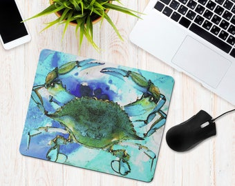 Blue Crab Mouse Pad, Maryland Blue Crab, Watercolor Gulf Coast Crab, Office Desk Accessories, Personalized Mouse Pad, Office Supplies