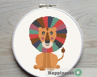 cross stitch pattern lion, modern cross stitch, kids room, nursery PDF,  ** instant download**