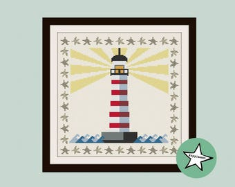 cross stitch pattern lighthouse, modern cross stitch, PDF,  ** instant download**