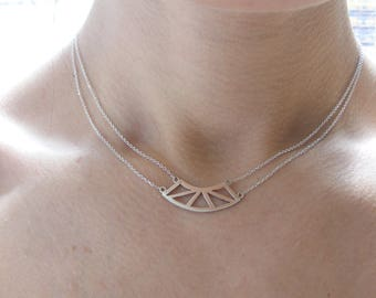Silver Double Chain Triangle necklace
