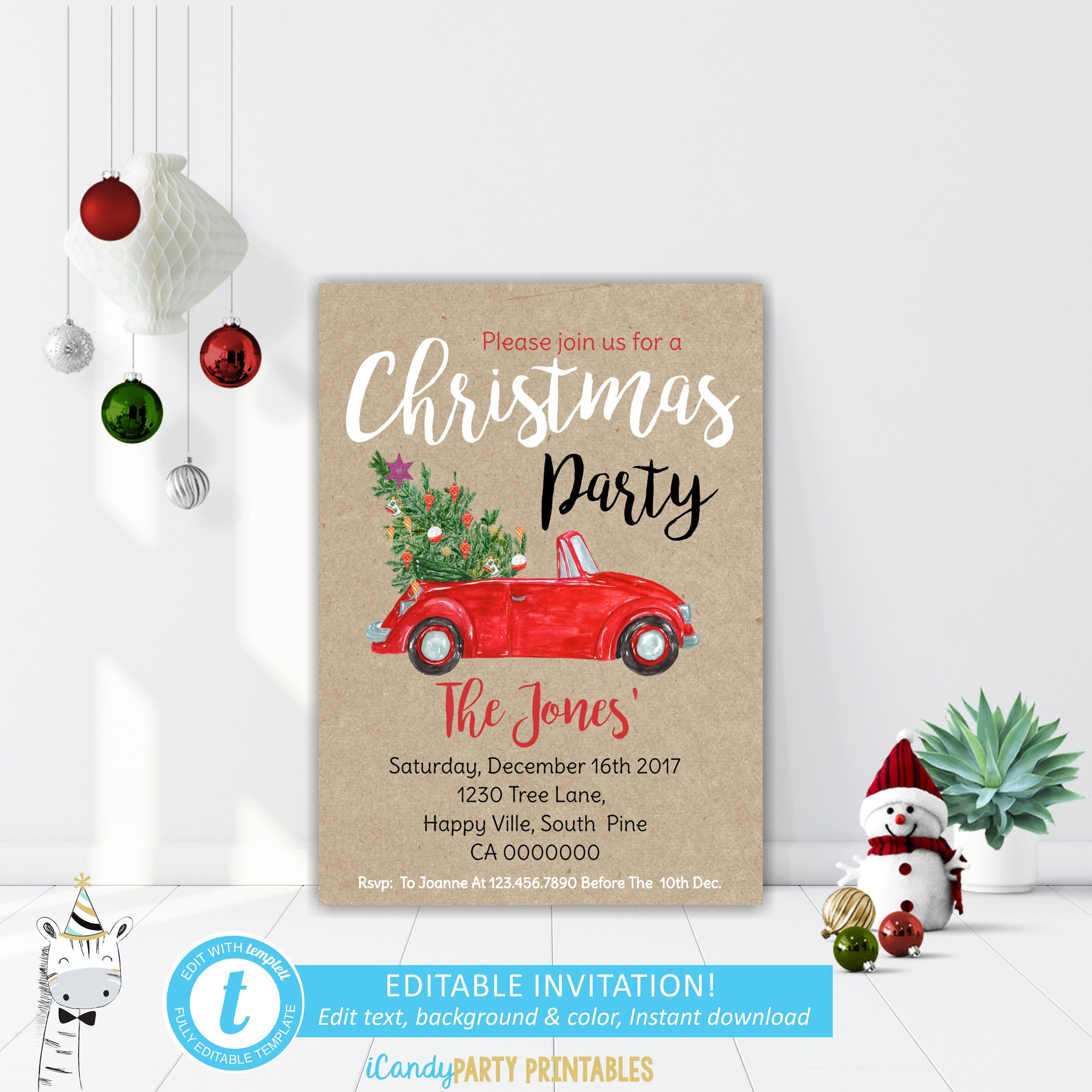 Christmas Cookie Party Invitation Editable Christmas Party