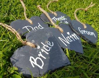 Personalised handmade heart slates /wedding favours