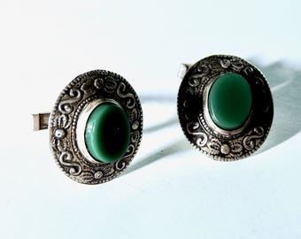 Antique Mexican 900 Silver with Green Onyx Cufflinks
