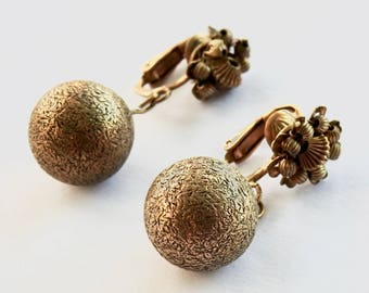 Miriam Haskell Brass Flower Ball Drop Earrings