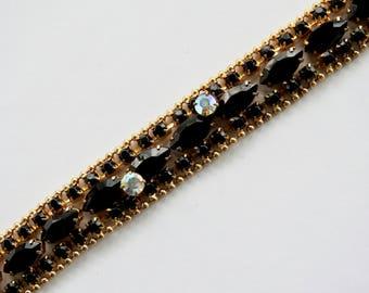 Mod Black Rhinestone and Aurora Borealis Bracelet