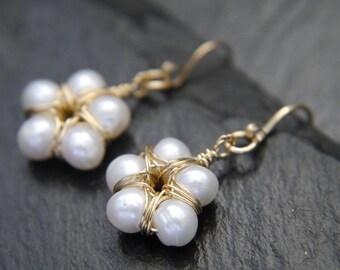 Pearl Earrings, Freshwater Pearl, Flower Earrings, Gold Filled Earrings, Wire Wrapped, White Pearl Earrings, Wedding, Bridesmaid Gift, Boho