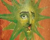 Birch Green Man, Sunburst, nature spring painting