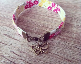 Bracelet pink white floral fabric and orange Butterfly