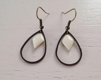 Bronze sequins earrings cream enamel diamonds