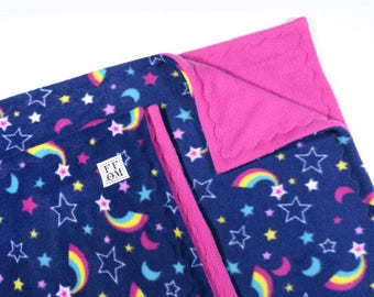 Guinea pig C & C fleece cage liner 2 pc set | 2 x 5 with 1 x 2 loft | guinea pig cage |  accessories | stars and rainbows  READY TO SHIP